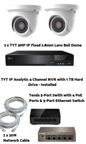 TYT Analytic IP 4MP 2 Camera PoE System H.265 Compression
