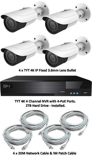 TYT Analytic IP 4K 4 Camera PoE System H.265 Compression