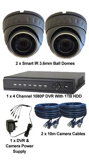 2 X Smart IR TVI Mini IR Dome & TYT 1080P DVR kit