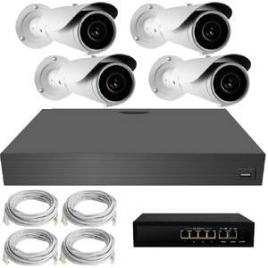 IP Analytic 4MP 3.3-12mm Varifocal Bullet 4 Camera External PoE System