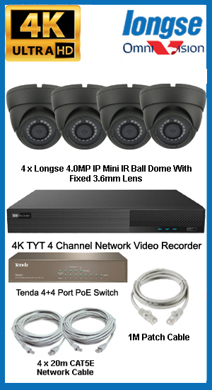 Complete Ultra HD IP 4.0MP (2560 x 1440) 4 Camera POE System
