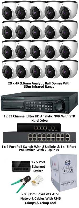 IP Analytic 4K 20 Camera PoE System H.265 Compression with Camera Options