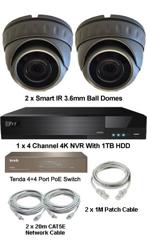 Complete Ultra HD IP 4.0MP (2560 x 1440) 2 Camera POE Mini Dome System