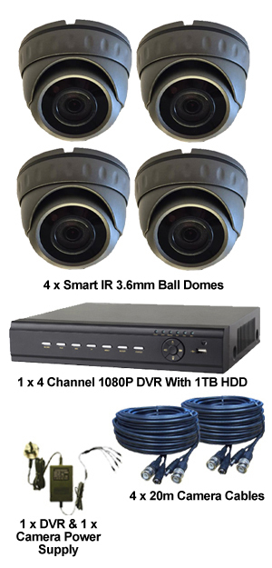 Complete TYT TVI Full HD 1080P 4 Camera System