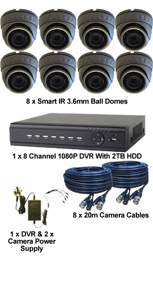 Complete TYT TVI Full HD 1080P 8 Camera System