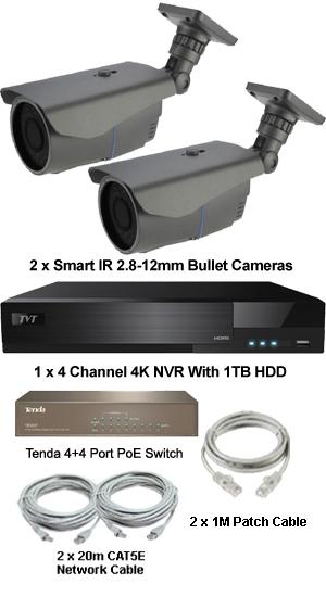 Complete Ultra HD IP 4.0MP (2560 x 1440) 2 Camera POE V/F Bullet 2.8-12mm Lens System