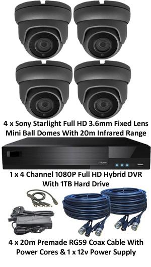 Sony Starlight 3.6mm Mini 1080P Ball Dome 4 Camera System. Several Camera Options.