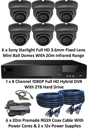 Sony Starlight 3.6mm Mini 1080P Ball Dome 6 Camera System. Several Camera Options.