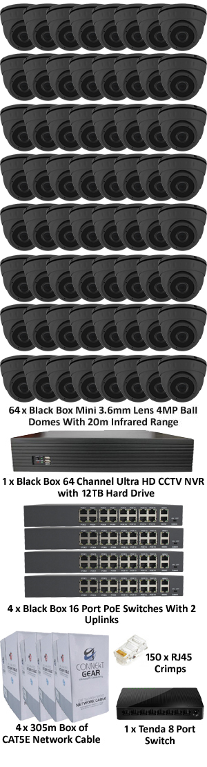 Black Box Ultra HD IP 4.0MP Complete 64 Camera POE Mini 3.6mm Dome System