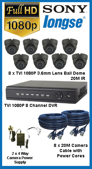 Complete TYT TVI  Full HD 1080P 8 or 12 Camera System