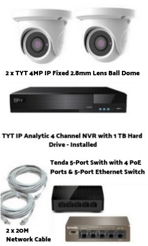 Analytic IP 4MP 2 Camera with System H.265 Compression with seperate PoE switch