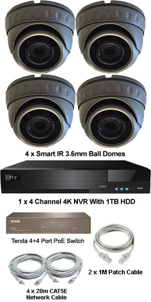 Complete 4 x Mini Ball Dome Ultra HD IP 4.0MP (2560 x 1440) PoE System