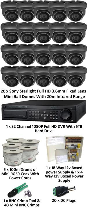 Sony Starlight 3.6mm Mini 1080P Ball Dome 20 Camera System. Several Camera Options.