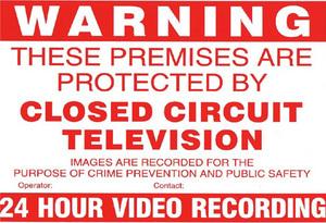 A4 CCTV Warning sign inside window type
