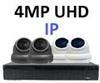 Complete Ultra HD IP 4.0MP Black Box 8 Camera Seperate POE Mini White Dome System