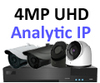 IP Analytic 4MP 2 or 3 Camera System with  PoE. Several Camera Colour and Style options