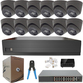 IP AI 4mp 2.8mm Fixed Lens Ball Dome 12 Camera External PoE System