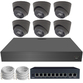 IP Analytic 4MP 2.8mm Fixed Ball Dome 6 Camera External PoE System