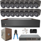 IP Analytic 4K 2.8mm Fixed Ball Dome 16 Camera External PoE System