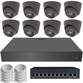 IP Analytic 4MP 2.8mm Fixed Ball Dome 8 Camera External PoE System